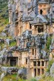 Túmulos antigos do corte da rocha de Lycian Fotografia de Stock Royalty Free