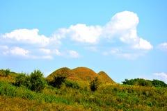Túmulos celtas no platô de Transylvanian, Romênia Paisagem verde nos plenos verões em um dia ensolarado Fotos de Stock Royalty Free