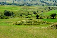 Túmulos celtas no platô de Transylvanian, Romênia Paisagem verde nos plenos verões em um dia ensolarado Foto de Stock Royalty Free