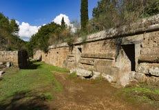 Túmulos de Etruscan na necrópolis de Banditaccia fotografia de stock