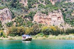 Túmulos de Lycian dos reis em Dalaman, Turquia Imagens de Stock Royalty Free