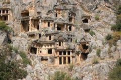 Túmulos do Rocha-corte de Lycian em Myra Fotografia de Stock Royalty Free