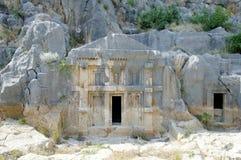 Túmulos e rocha reais em Myra, Turquia Imagens de Stock