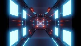 T?nel abstracto del espacio con las luces azules y la reflexi?n roja stock de ilustración