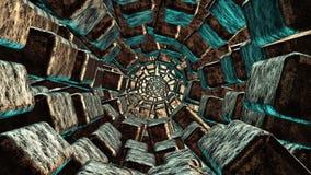 Túnel abstracto en el metal oxidado de bronce