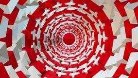 Túnel abstracto en rojo y blanco stock de ilustración