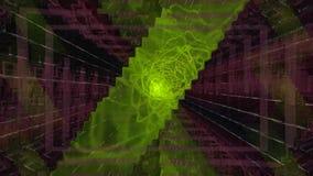 Túnel abstracto hermoso del cuadrado con las líneas ligeras azules que mueven el sistema rápido de varios elementos video Fondo f libre illustration
