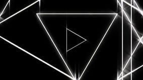 Túnel abstracto hermoso del triángulo con las líneas ligeras blancas mudanza concepto rápido, del disco y de los clubs animación  ilustración del vector
