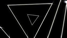 Túnel abstracto hermoso del triángulo con las líneas ligeras blancas mudanza concepto rápido, del disco y de los clubs animación  libre illustration
