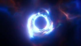 Túnel abstrato da energia no espaço Os campos de força da energia escavam um túnel no espaço ilustração stock