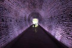 Túnel antiguo encendido en púrpura, Brockville, Canadá de Rarilway imagen de archivo libre de regalías