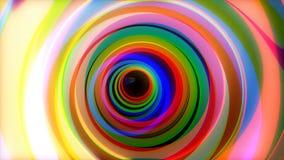 Túnel colorido Animação do voo através dos círculos de cor Movimento psicadélico do passeio do túnel dos anéis coloridos do fulgo ilustração stock
