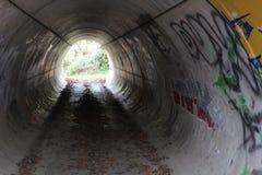 Túnel com grafittis Fotos de Stock Royalty Free