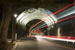 Túnel con las luces del rastro Foto de archivo