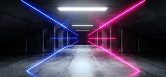 Túnel concreto escuro moderno de incandescência azul de Asphalt Futuristic Spaceship Underground Garage do cimento de Sci Fi do r ilustração royalty free