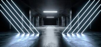 Túnel concreto escuro moderno de incandescência azul de néon de Asphalt Futuristic Spaceship Underground Garage do cimento do las ilustração stock