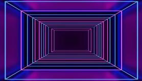 Túnel cuadrado de neón del estilo retro en espacio cibernético rosado y azul 3D rendido Imagenes de archivo