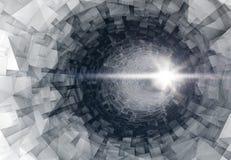 Túnel 3d digital de giro interior com extremidade de incandescência Imagem de Stock Royalty Free