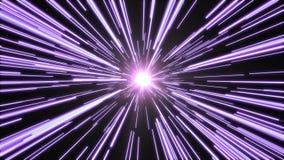 Túnel da luz brilhante, roxa Imagens de Stock