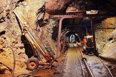 Túnel da mina com estrada de ferro Foto de Stock Royalty Free