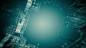 Túnel da placa de circuito impresso do PWB animado tecnologia Ciano azul Loopable ilustração stock