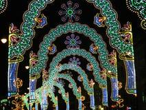 Túnel das luzes de Natal Imagem de Stock Royalty Free
