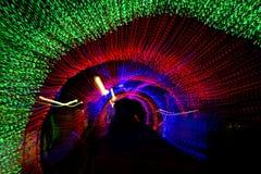 Túnel de la luz de neón en Año Nuevo Imagen de archivo libre de regalías