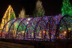 Túnel de la luz de la Navidad Fotos de archivo