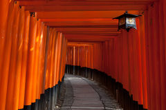 Túnel de la puerta en la capilla de Fushimi Inari - Kyoto, Japón Fotografía de archivo