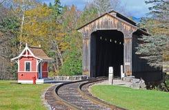 Túnel de madera del tren Fotografía de archivo