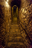 Túnel de piedra estrecho secreto con las escaleras Imágenes de archivo libres de regalías