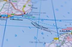 Túnel del Canal de la Mancha en mapa Imagen de archivo