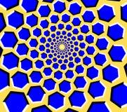 Túnel del hexágono de la ilusión óptica en un fondo amarillo stock de ilustración