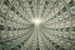 Túnel do dinheiro, dólares para a luz Fotografia de Stock Royalty Free