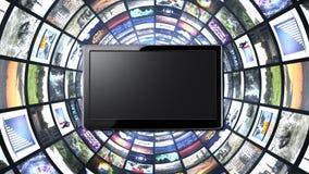 Túnel dos monitores, fundo abstrato da computação gráfica da tecnologia fotografia de stock
