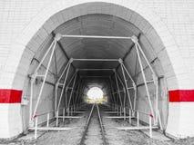 Túnel en las pistas ferroviarias Fotografía de archivo libre de regalías