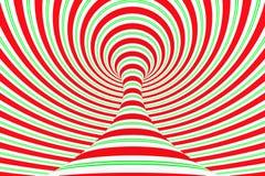 Túnel espiral rojo de la Navidad y verde festivo Ilusión óptica torcida rayada de Navidad Fondo hipnótico 3d rinden la ilustració ilustración del vector