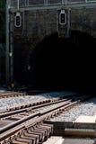 Túnel ferroviario y señalización Imágenes de archivo libres de regalías