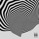 Túnel Fondo geométrico abstracto 3d Diseño blanco y negro Modelo con la ilusión óptica stock de ilustración