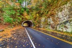 Túnel fumarento da montanha em Autumn Morning fotografia de stock royalty free
