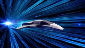 Túnel futurista com raios claros de néon azuis e um navio de espaço que faz um salto animation Salto em tempo e em espaço de um c ilustração royalty free