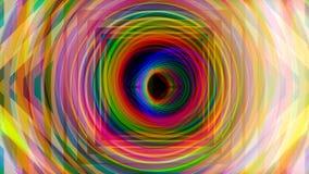 Túnel hipnótico y beautifful en colores del arco iris en el fondo negro, lazo inconsútil animaci?n Túnel colorido de la pendiente stock de ilustración