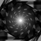 Túnel metálico oscuro abstracto con la luz brillante en el extremo ilustración del vector