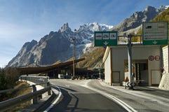 Túnel Mont Blanc de Italia-Francia de la frontera Fotografía de archivo