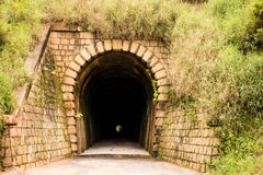 Túnel Mont Serrat - Ferrovia Brusque - Santa Catarina, Brasil. Old historic tunnel to freight trains (ore and wood) in southern Brazil Royalty Free Stock Images