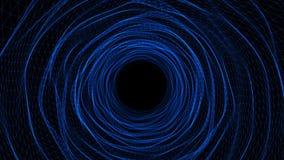 Túnel o bucle temporal azul abstracto del espacio, viajando