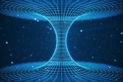 túnel o wormhole, túnel del ejemplo 3D que puede conectar un universo con otro Deformación abstracta del túnel de la velocidad ad Stock de ilustración