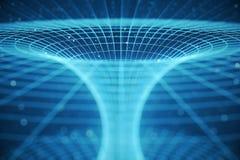 túnel o wormhole, túnel del ejemplo 3D que puede conectar un universo con otro Deformación abstracta del túnel de la velocidad ad Imagen de archivo