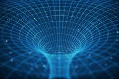 túnel o wormhole, túnel del ejemplo 3D que puede conectar un universo con otro Deformación abstracta del túnel de la velocidad ad Libre Illustration