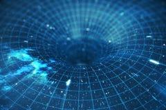 túnel o wormhole, túnel del ejemplo 3D que puede conectar un universo con otro Deformación abstracta del túnel de la velocidad ad Foto de archivo